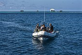 Divers in rubber boat, Liveaboard Pelagian, Wakatobi Dive Resort, Sulawesi, Indonesia, Asia