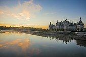 Chambord Castle, North Facade, Sunrise, UNESCO World Heritage Site, Loire, Department Loire et Cher, Centre Region, France, Europe