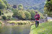 Trout fishing on the Loue river, fly fishing, Franche-Comté, France