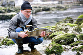 Trout fishing on the Doubs river, Catch a big wild trout, Goumois, Doubs, Franche-Comté, France
