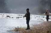 Trout fishing on the Doubs river, fly fishing, Goumois, Doubs, Franche-Comté, France