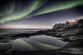 Aurora borealis, Devil's teeth, Senja, Troms, Norway