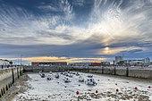 Bassin du Paradis, at the port of Calais at low tide, Hauts de France, France.