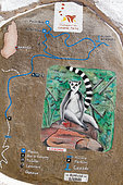 PN Isalo, signage of a discovery circuit of the park, 81540 ha National Park created in 1962, South Madagascar