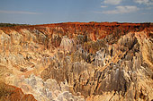PN Ankarafantsika, grand lavaka, érosion sévère de la latérite et des roches tendres due à la déforestation, Nord-Ouest Madagascar