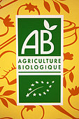 Label of organic farming in a shop, France