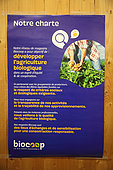 Charter of organic farming in a shop, France