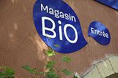 Sign indicating an organic shop, France