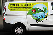 Logo on a van showing a bio laundry, France