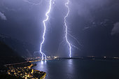 Lightning strikes hitting the vicinity of Vileneuve, by Lake Geneva, June 30, 2019, canton of Vaud, Switzerland