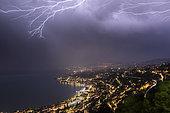 Storm activity over Montreux during its Jazz festival, June 30, 2019, canton of Vaud, Switzerland