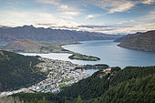 View on Lake Wakatipu with city of Queenstown, South Island, New Zealand