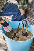 Winter equipment preparation: plant pruning blades in dry sand. Prevents rust from settling on cutting edges of the pruner and damaging it.