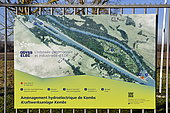 Information panel of the Kembs hydroelectric power plant on the Rhine, Alsace, France