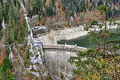 Chatelot dam in low water, Doubs River, Haut Doubs, France