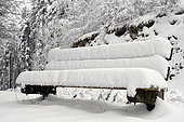 Snow in bencht in winter, Doubs valley, Goumois, Doubs, France, on the Swiss border