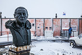 Bust of Paul Emile Victor on the Antarctic Dumont d'Urville base in Adelie Land, Antarctica