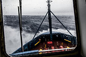 Astrolabe bow caught in a storm on the way back from Antarctica, and on the way to Australia 5 days North Sea, Southern Ocean