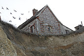 Abandoned house following a slip of the cliff in Quiberville, Seine Maritime, Normandy, France