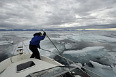 Inuit spreading the ice. In the Hurry fjord, North East Greenland