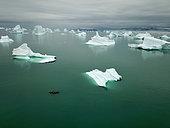 Kayak at the bottom of Scoresbysund, North East Greenland