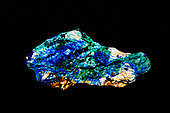 AZURITE-MALACHITE ROCK, Cut and polished slab, Stepnoye Mine, Altay Mountains, Siberia, Russia, occurs in copper-bearing rocks in central Siberia, consists of white quartz with veins of the copper minerals azurite (blue) and malachite (green)