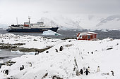 Plancius cruise ship Petermann Island, Antarctica.