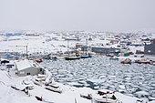 Ilulissat harbour, Disko bay, Greenland.