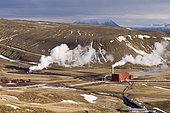 Krafla geothermal power station near Lake Myvatn, Reykjahlid, Iceland.