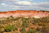 Red Circus amphitheater, ocher color, pink and white laterite and friable sandstone, protected area 5 km from Majunga, West Madagascar