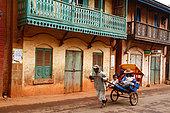 Rickshaw on a street in Ambalavao, Madagascar Center