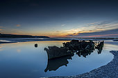 The wreck of the Lord Grey at blue hour, Opal Coast, Hauts de France, France