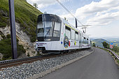 Panoramic train of Domes, electric cog train to access the top of puy de Dome, Auvergne, France