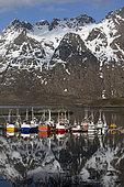Fishing boats in Lofoten islands, Norway.