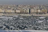 Le Danube gelé en hiver, Budapest, Hongrie.