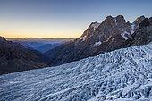 Le Glacier Blanc (3023m), view on Mount Pelvoux (3932m), Valley of Vallouise, Briançonnais region, Ecrins National Park, Hautes-Alpes, France
