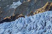 Seracs and crevasses of the Glacier Blanc (2810m), Valley of Vallouise, Briançonnais region, Ecrins National Park, Hautes-Alpes, France
