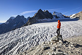 The White Glacier (3023m), hiking to the refuge of the Ecrins, left view on Mount Pelvoux (3932m), right Bar des Ecrins (4101m), Valley of Vallouise, Briançonnais region, Ecrins National Park, Hautes -Alpes, France