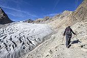 Hiking to the Ecrins refuge, crevasse du Glacier Blanc (2875m), Vallouise valley, Briançonnais region, Ecrins National Park, Hautes-Alpes, France