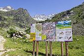 The Gioberney Glacier Circus, Ecrins National Park information board, starting from the Chalet-Hotel du Gioberney car park trail, La Chapelle-en-Valgaudemar, Ecrins National Park, Hautes-Alpes, France
