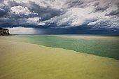 Thunderstorm over the sea on the coast near Saint-Valery-en-Caux, Département Seine-Maritime, Normandy, France, Europe