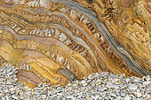 Polychrome strata of Playa del Silencio, Asturias, Spain. Spectacular variegated and tortured strata of quartzite, sandstone and schists, deformed by the tectonic and dating from the Paleozoic (Cambrian / Ordovician)