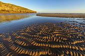 Rides d'oscillation à marée basse, Praia de Amoreira, Portugal