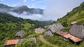 Summer Traditional mountain huts with broom roof in the mountains of Somiedo, UNESCO Natural Park and Biosphere Reserve, wild mountains known for their many bears (a hundred) located in the region of Asturias, Spain