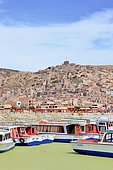 Boats on Lake Titicaca and green algae due to pollution, Puno, Peru.