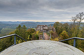 Orientation table of Falkenstein Castle in autumn, Northern Vosges, Moselle, France