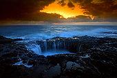 Sunrise on the Atlantic coast of Gran Canaria after the storm, Bufadera de la Garita, Gran Canaria, Spain