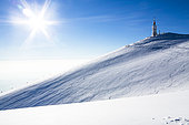 Mont Ventoux under the snow in winter, Vaucluse, Provence, France