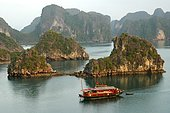 Twilight over the island world of the UNESCO-declared world natural heritage Halong Bay Viet Nam