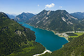 Plansee looking southwest to Soldatenkoepfle and Hochjoch in Background, Tyrol, Austria